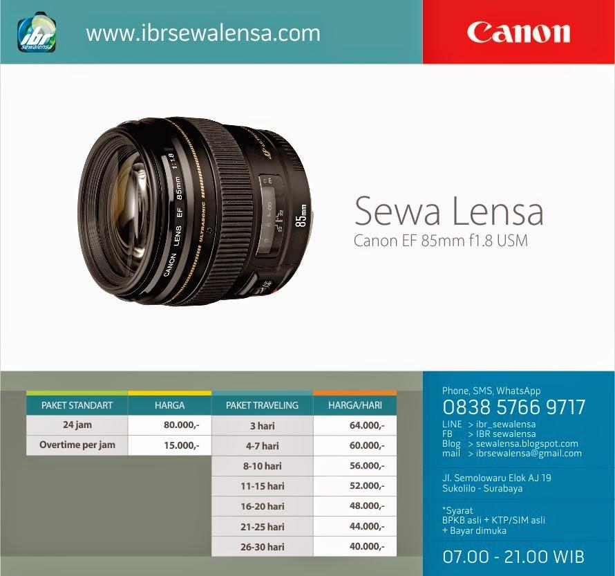 Harga sewa lensa Canon 85 mm F1.8 USM