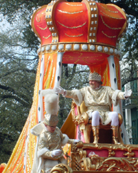 King Rex on his Float at the Mardi Gras Parade on Fat Tuesday