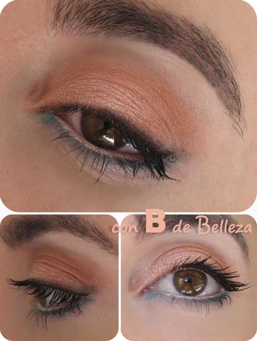Maquillaje ojos dorado y coral
