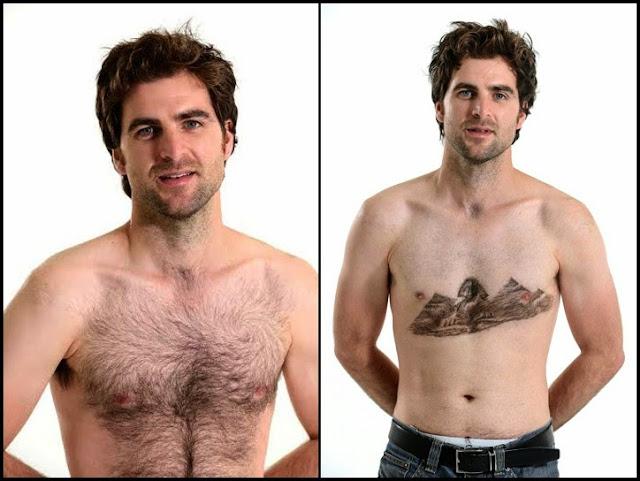 Κομμωτής δημιουργεί αριστουργήματα πάνω στα στήθη τριχωτών ανδρών