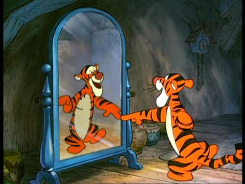 Tigger and mirror Many Adventures of WInnie the Pooh 1977 animatedfilmreviews.filminspector.com