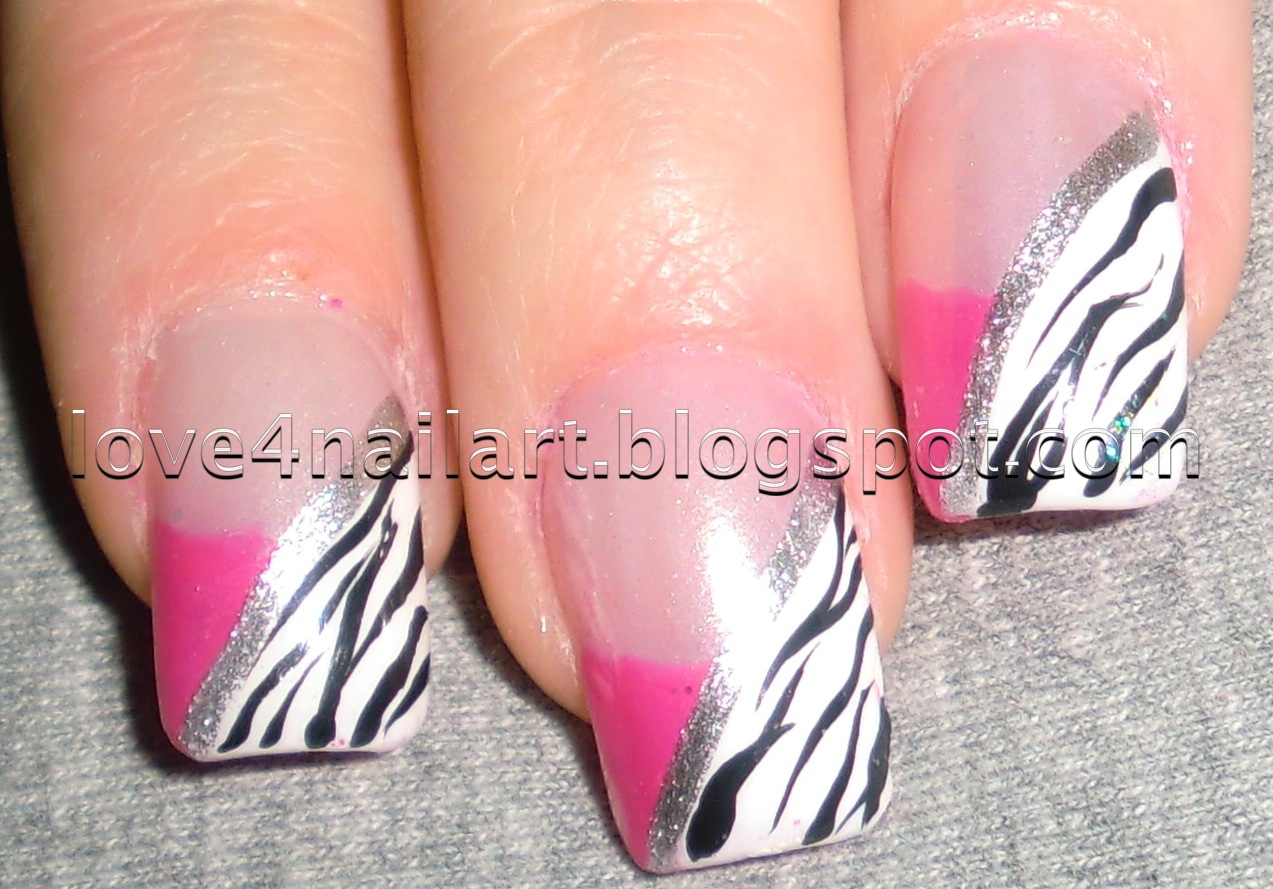 Zebra print nail designs acrylic nails