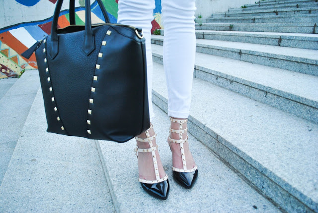 total white, total white outfit, valentino rockstud lookalikes, rockstud lookalikes, rockstud heels, rockstud kitten heel, studded bag, studded heels, fedora hat