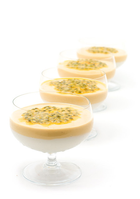 Raw mango and coconut cream with passion fruit focus on first in line