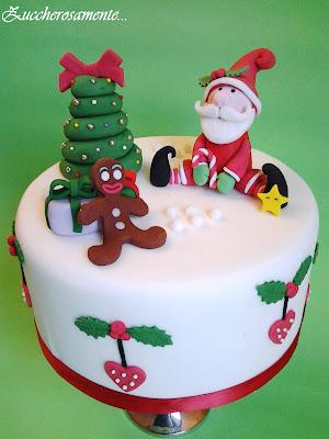 Zuccherosamente torta di natale in pasta di zucchero - Torte natalizie decorate ...
