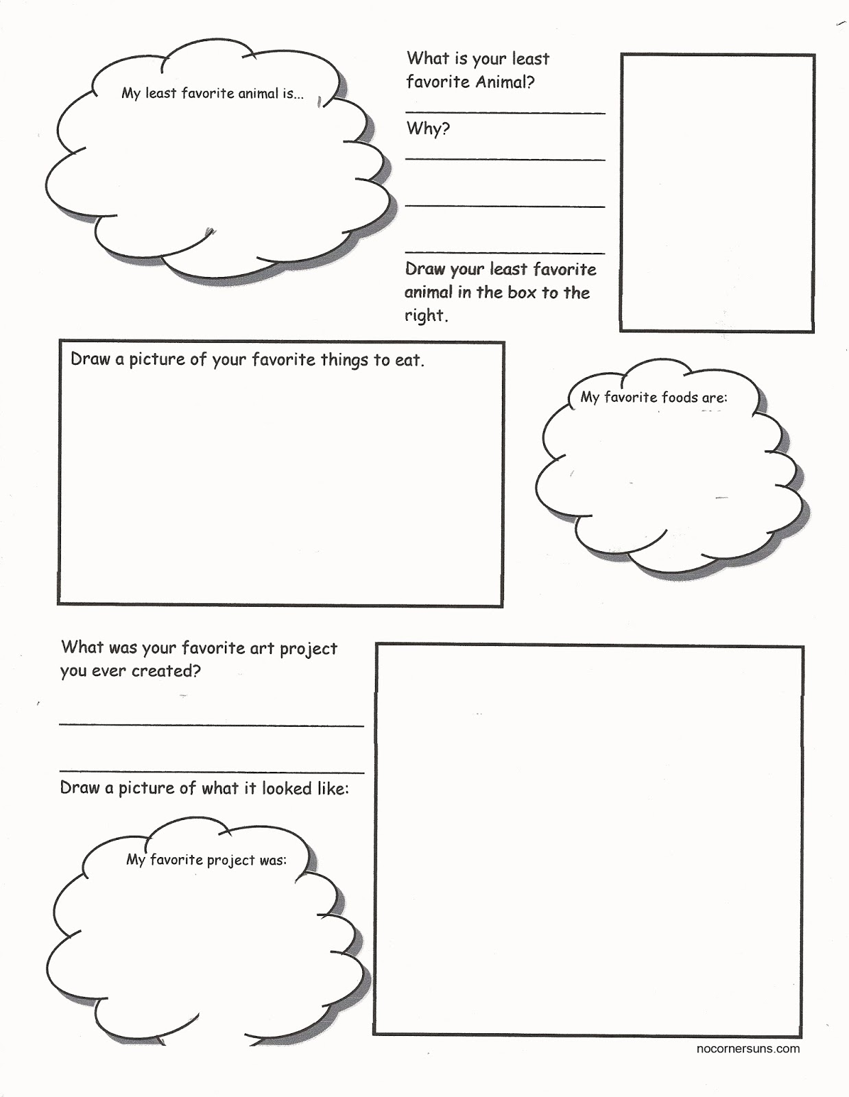 No Corner Suns Art Me Get to know your students while they get – Get to Know You Worksheets