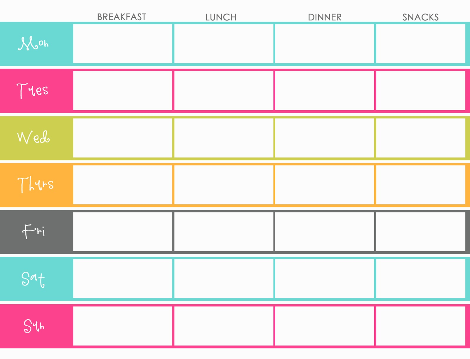 weekly menu planner template - Ideal.vistalist.co