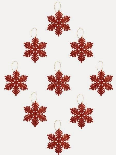 Primark online: decoración para Navidades de copos de nieve rojos