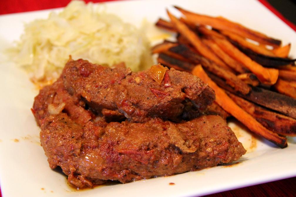 heart paleo: bbq country style pork ribs, sweet potato fries ...