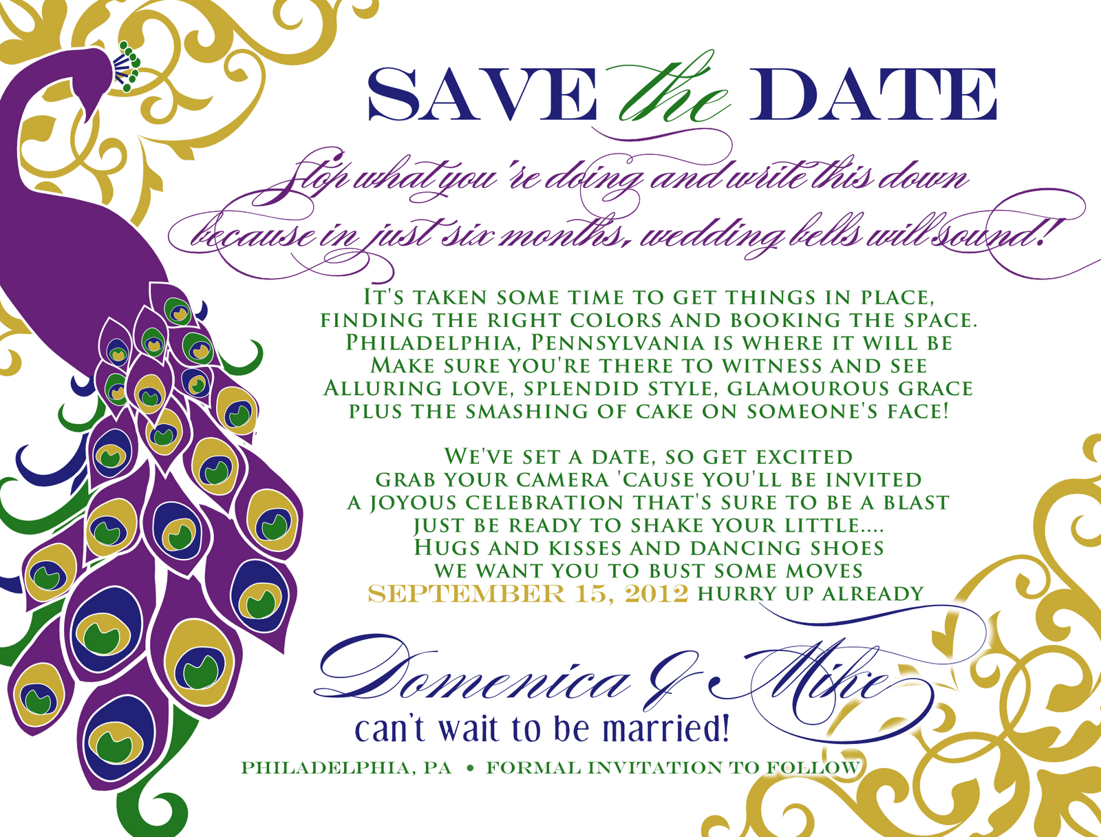 Signatures by Sarah Peacock savethedate for Domenica – Save the Date Poems for Weddings
