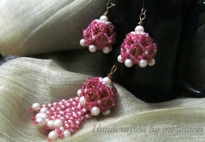 bead weaving , pink seed bead earrings