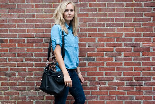 Denim leopard fashionblogger black bag liebeskind berlin