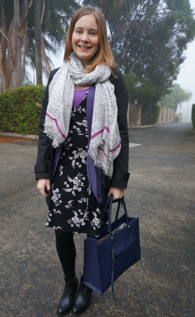 Purple and black layered winter office outfit foggy Brisbane day