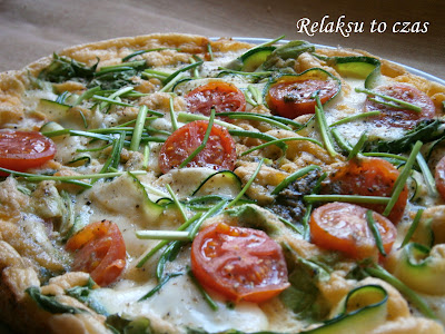 pomysł na śniadanie, omlet, mozzarella, cukinia, jajka, pomidorki coctailowe, szczypiorek