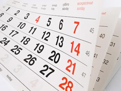 Calendárico com todas as datas comemorativas do ano