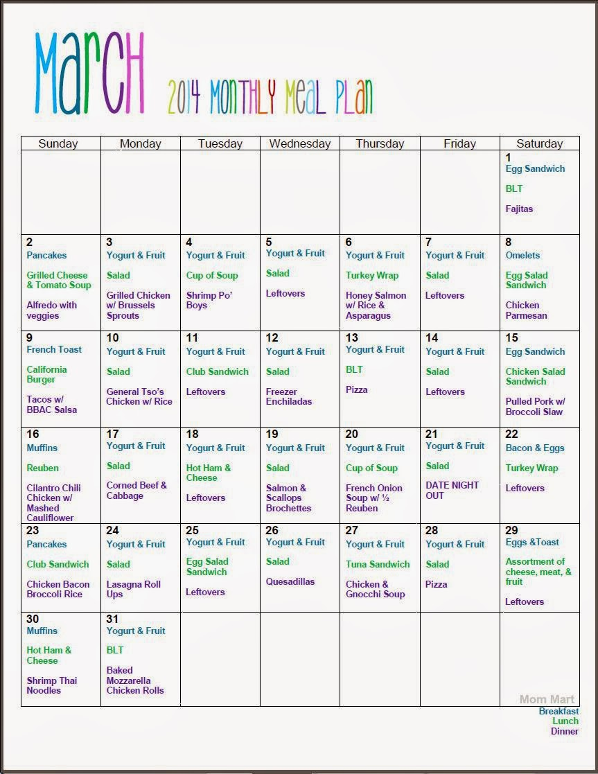 March Monthy Meal Planning Free Printable w/ Recipes #Organize #Plan #MealPlan #Recipes #FreePrintable