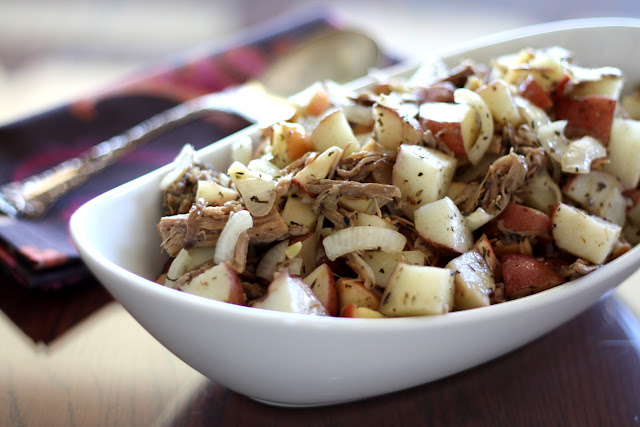 Roasted Italian Apples and Potatoes with Pork recipe by Barefeet In The Kitchen