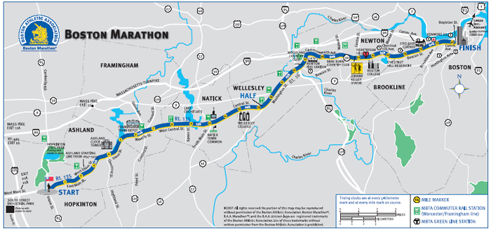 boston marathon course profile. marathon course