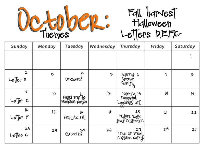 October Calendar Ideas For Preschool : Smarty pants preschool monthly calendars