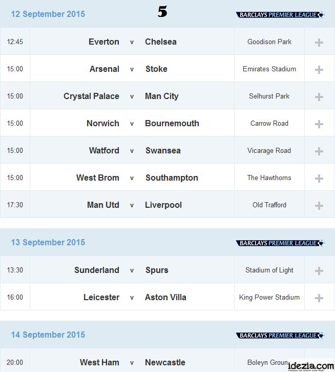 Jadwal Liga Inggris Pekan ke-5 12 13 14 September 2015