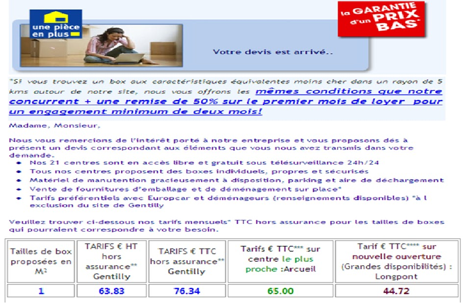 Beauty confort finance - Une piece en plus tarif ...