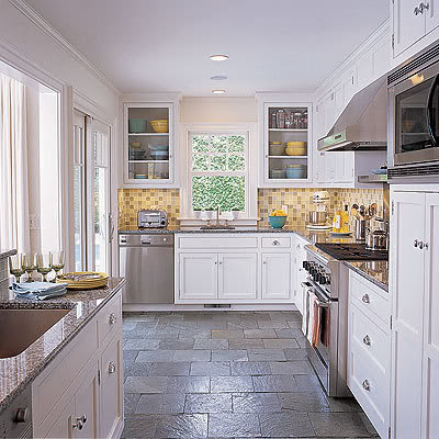 white kitchen, slate floor - interior design decor