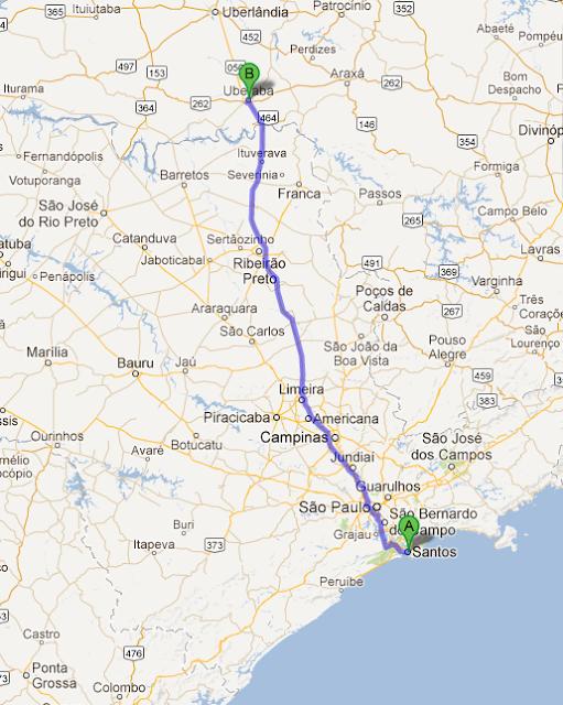 GMAPs - Mapa demonstrando a Rota entre Santos-SP e Uberaba-MG