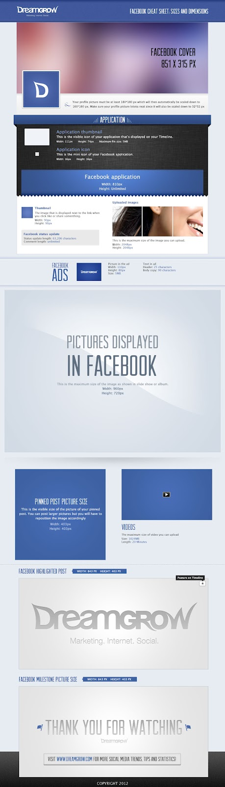 facebook, cheat sheet, sizes and dimensions,