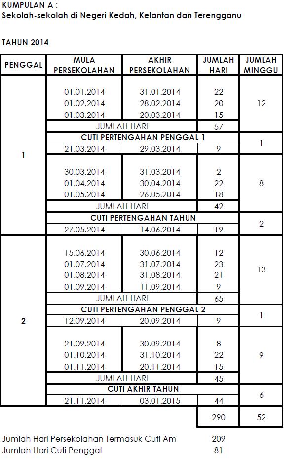 Takwim Sekolah 2014 KPM + Cuti Sekolah 2014