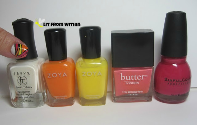 bottle shot of what I used:  Savvy French Sheer White, Zoya Arizona, Zoya Pippa, Butter London Trout Pout, and Sinful Colors Feeling Great