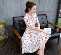 Retro Front Ribbon Red Cherries Print Knee Length Dress