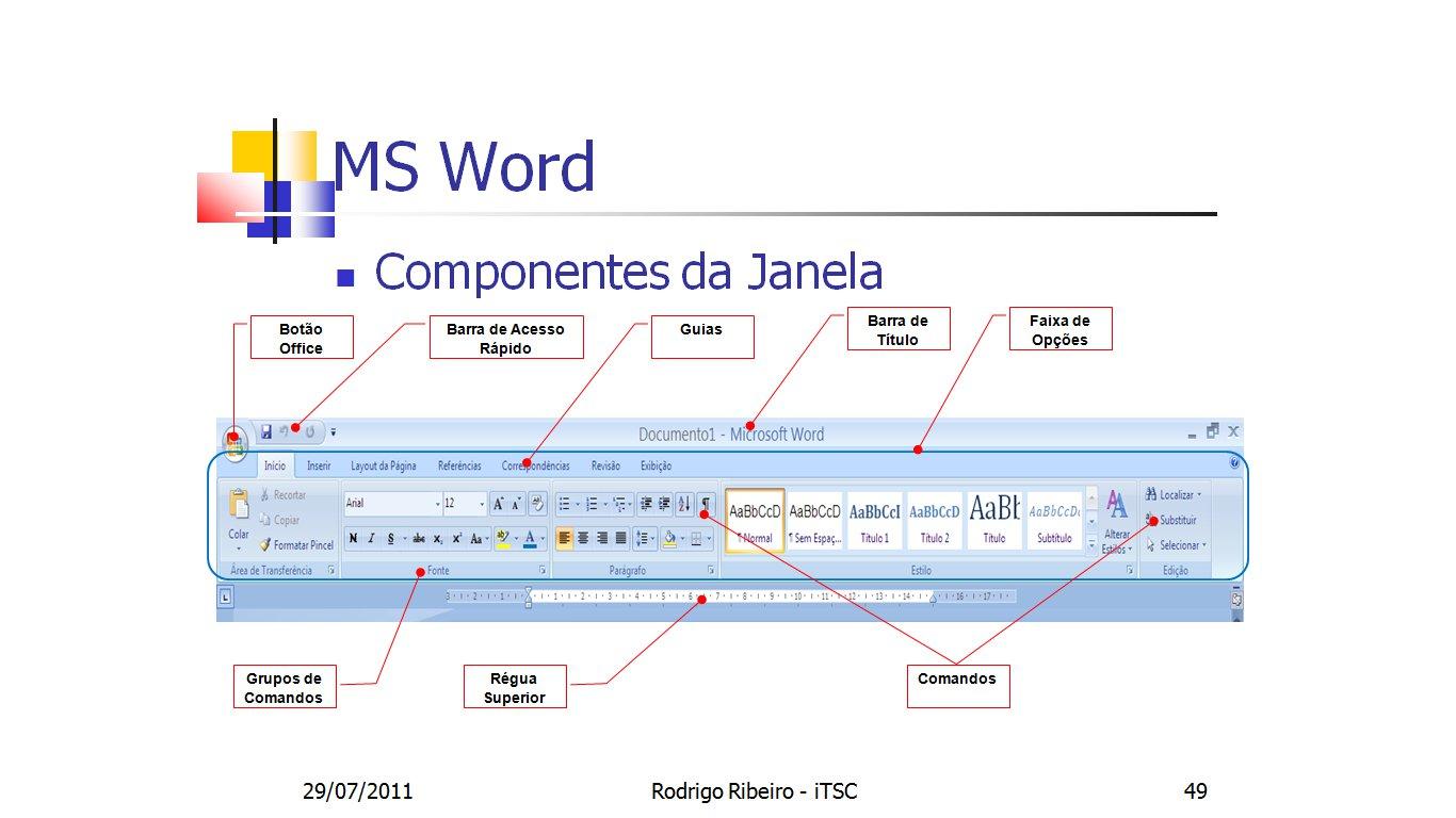 Info atualidades dicas de word principais componentes da janela do parte superior da janela do word ccuart Images