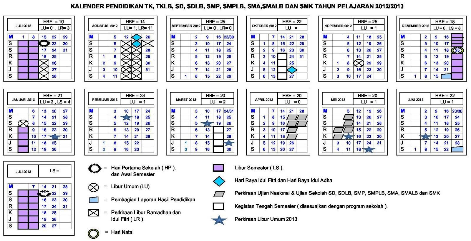 Kalender Pendidikan Tahun 2012 ~ 2013