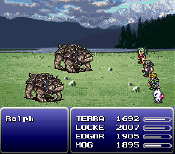 Screenshot of combat mode from Final Fantasy 6. 4 heroes fight 2 dogs.