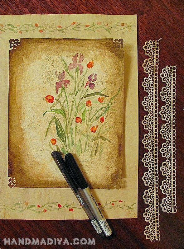 Винтажная картинка своими руками. Vintage picture handmade. DIY step-by-step tutorials