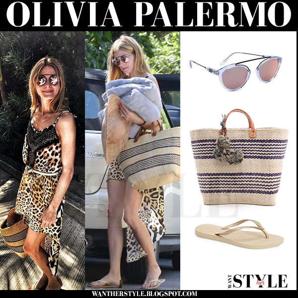 Olivia Palermo in leopard print beach mini dress Camilla with gold havaianas flip flops and woven striped beach bag mar y sol caracas what she wore