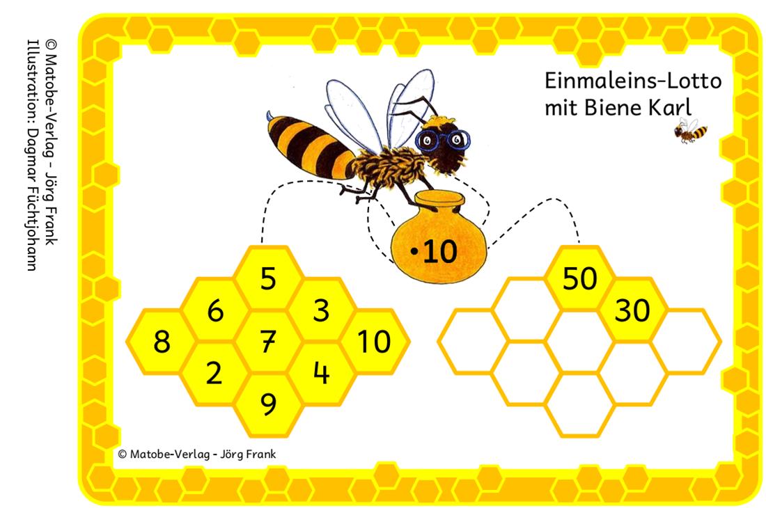 Hasenklasse: Einmaleins-Lotto mit Biene Karl