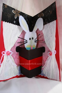 Handmade magic rabbit popup card