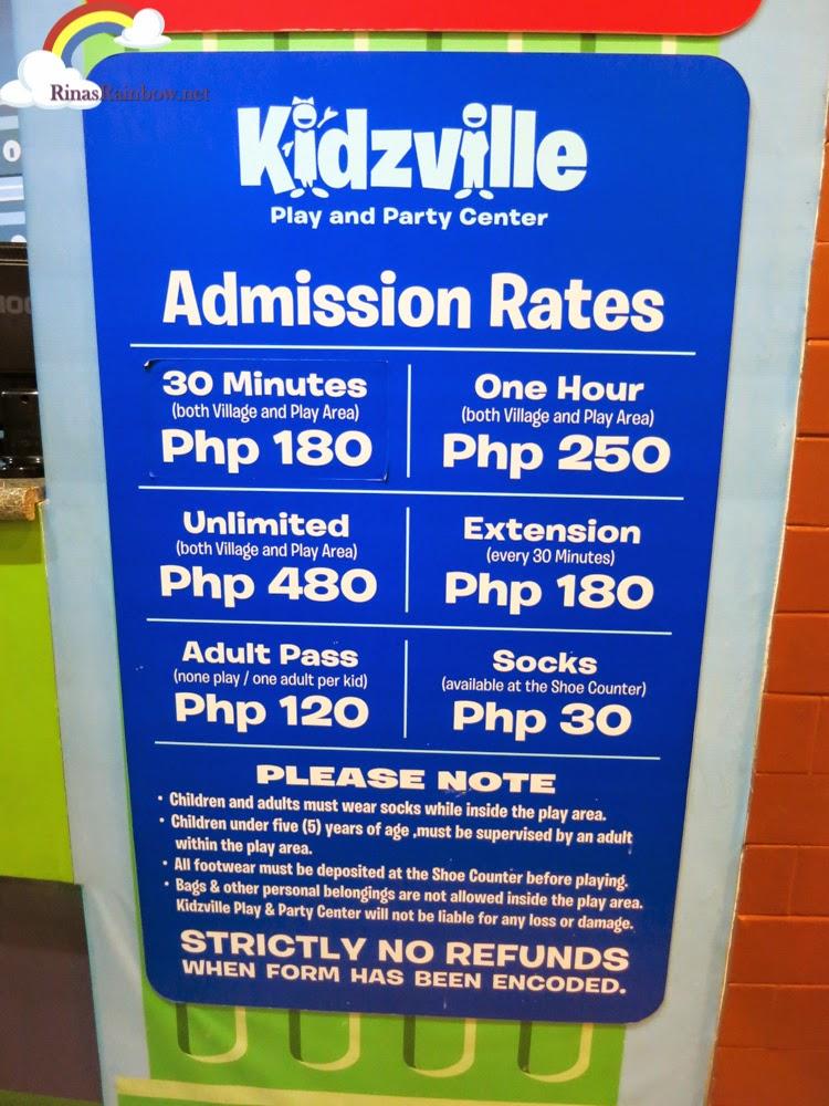 kidzville rates