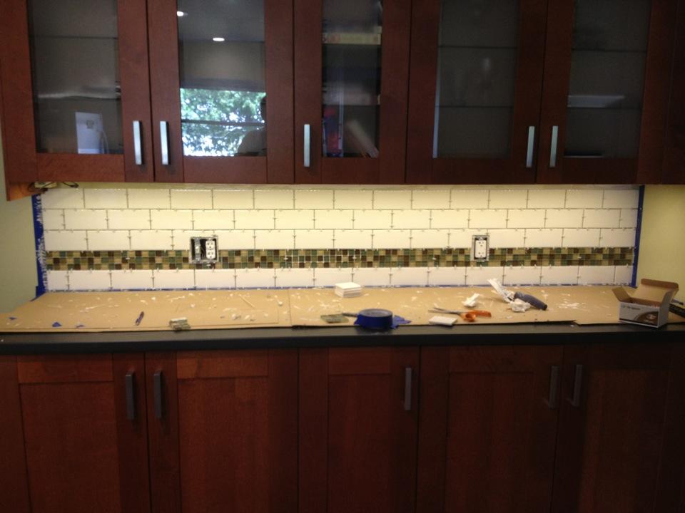 our ikea kitchen under cabinet lighting and tile backsplash