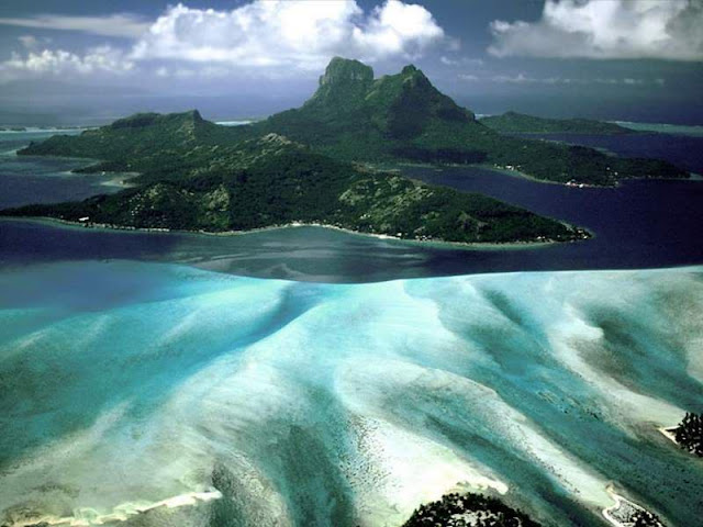 The Bora-Bora island in French Polynesia