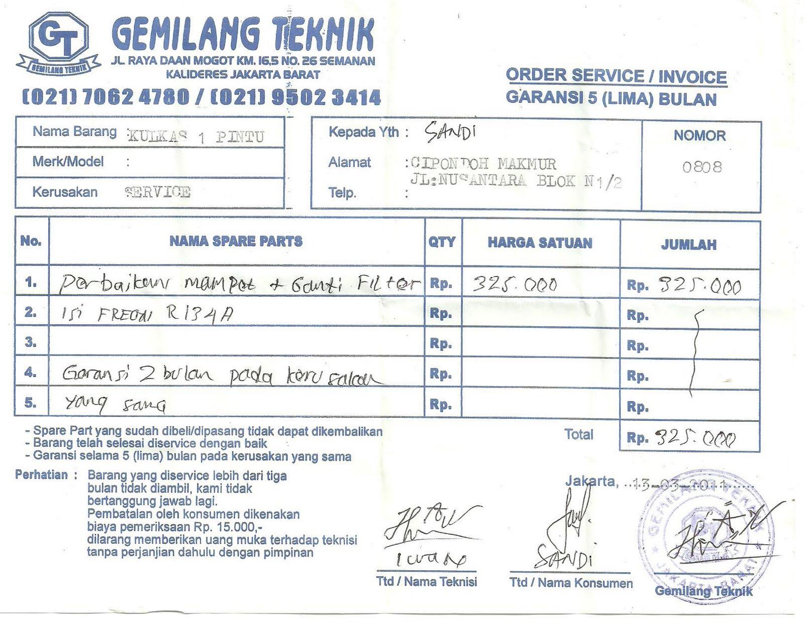 Gado Gado Gudang Kuitansi Servis Kulkas