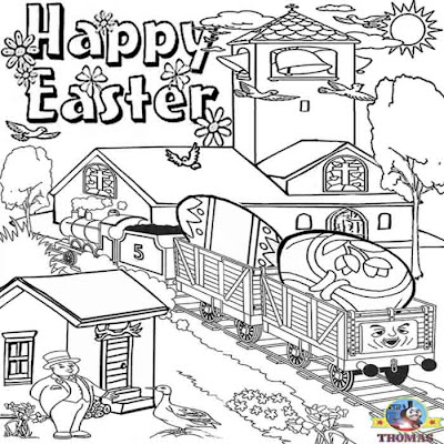 Nursery worksheets printables Happy Easter chick coloring pictures of James Thomas the train friends
