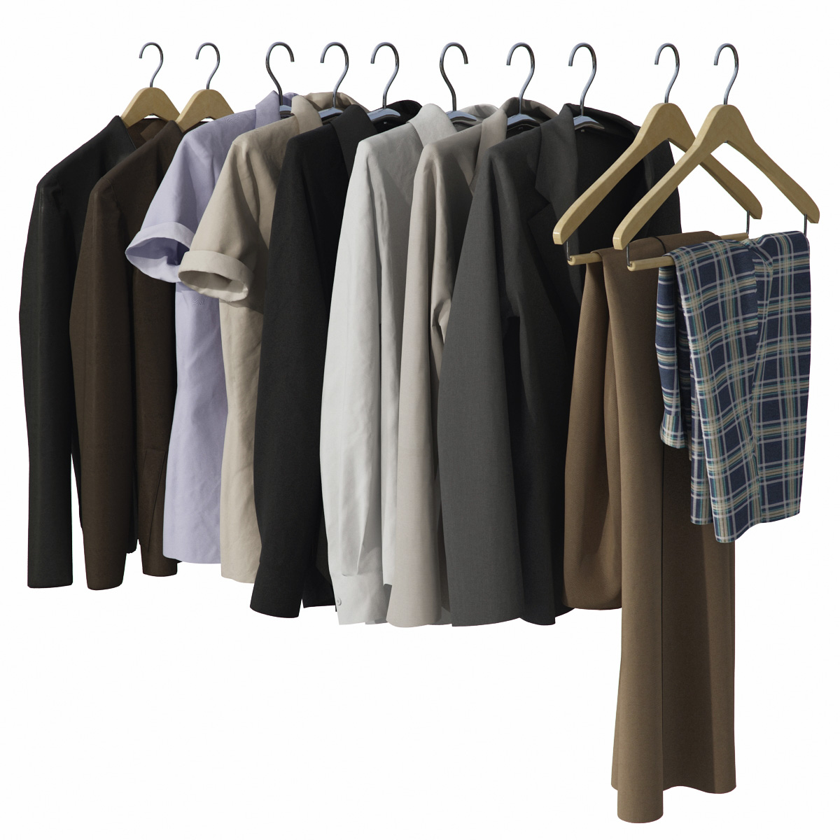 Wardrobe With Clothes Realistic 3d Model