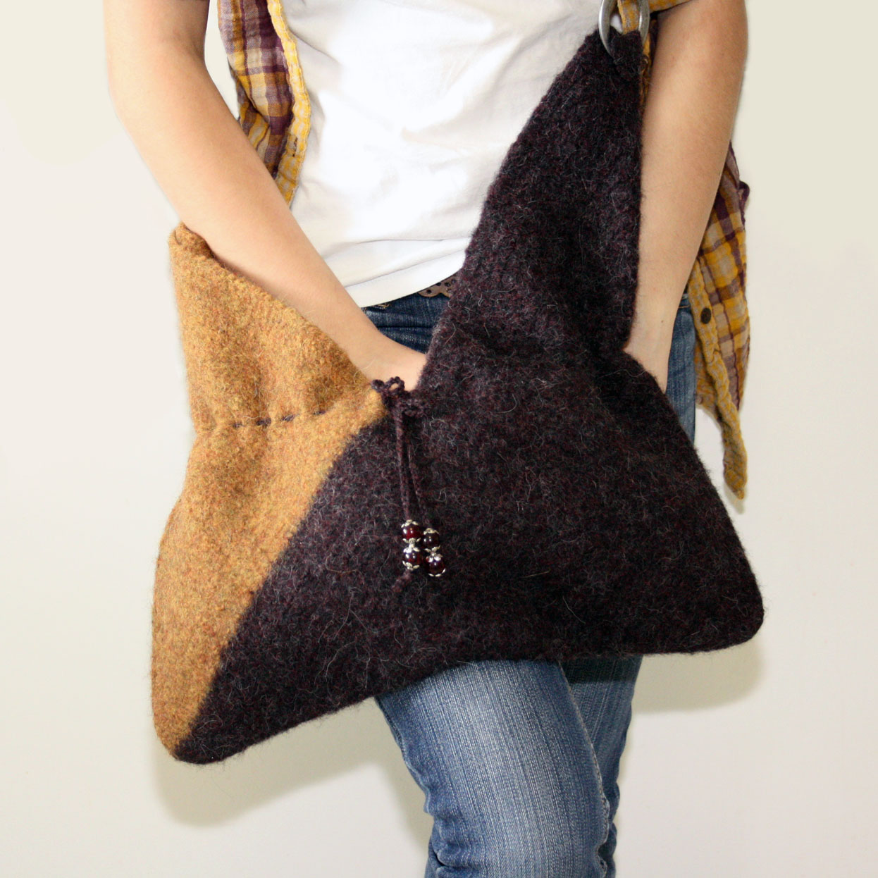 FELTED BAG CROCHET - CROCHET KNIT PATTERN SCARF - Crochet
