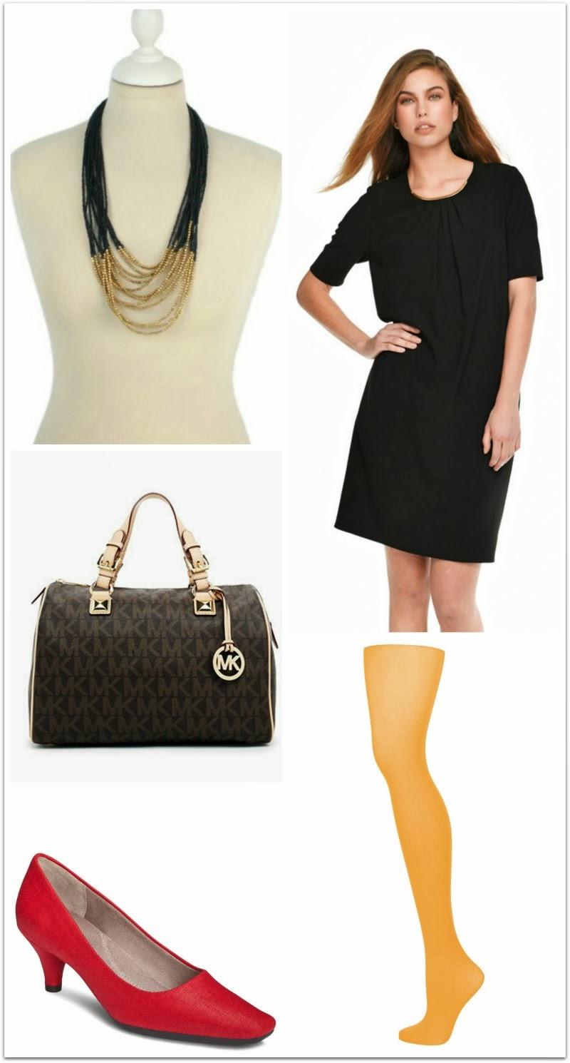 Vestido negro y zapatos burdeos
