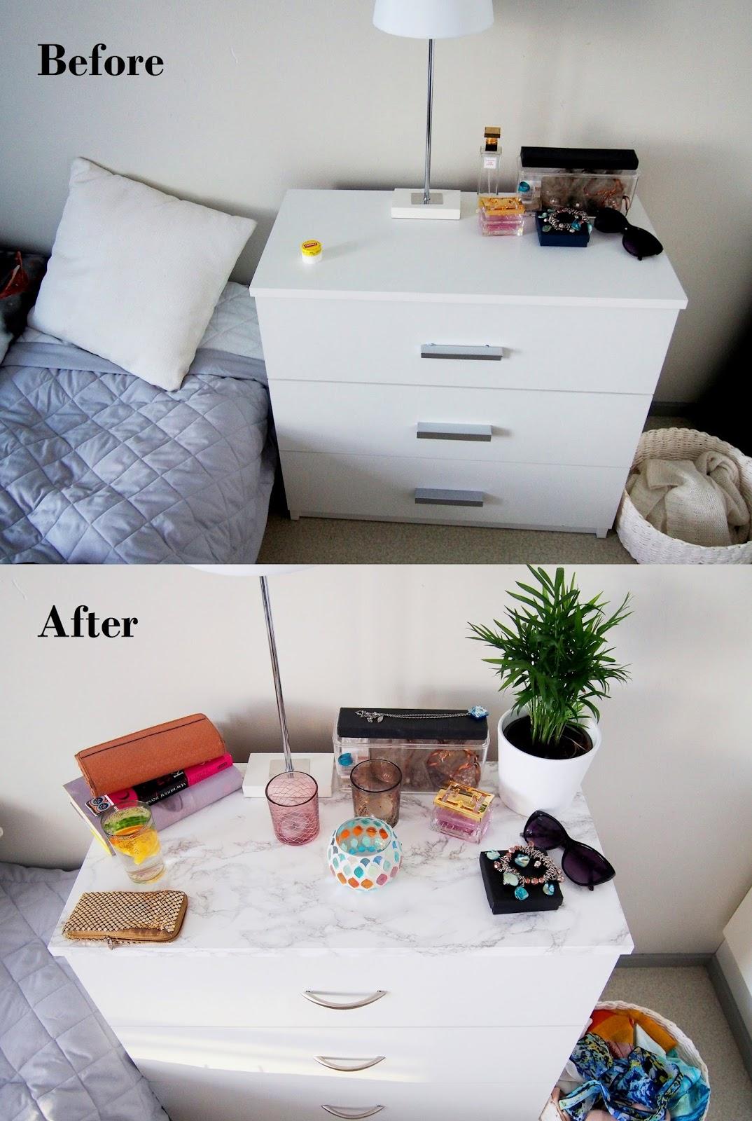 Ennen ja jälkeen. Marmorikuvioitu lipasto valmistuu helposti kontaktimuovilla.