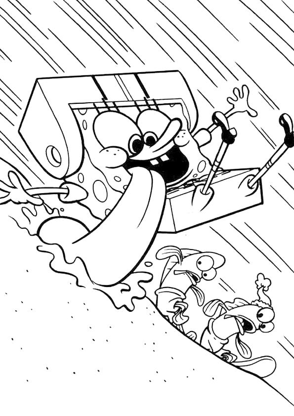 Colorear dibujo de bob esponja haciendo surf