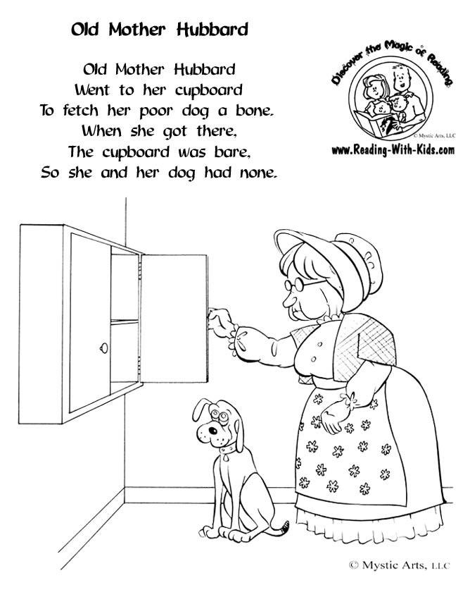 Inkspired musings old mother hubbard nursery rhyme time for Free printable nursery rhyme coloring pages
