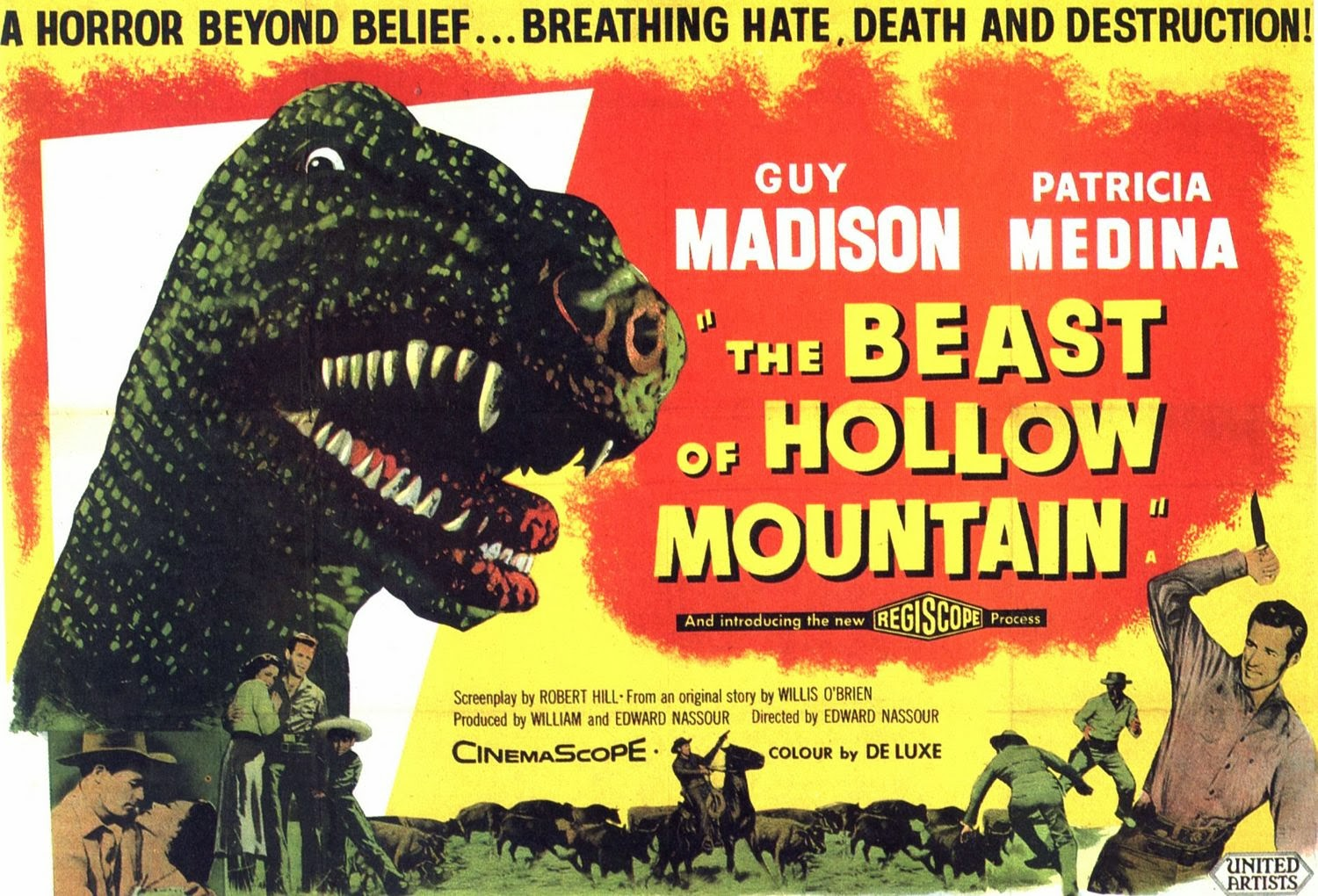 http://wrongsideoftheart.com/2009/06/the-beast-of-hollow-mountain-1956-usa-mexico/